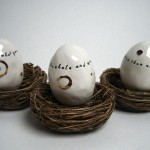 ceramic eggs by rae dunn.