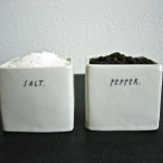 square salt + pepper cellars.