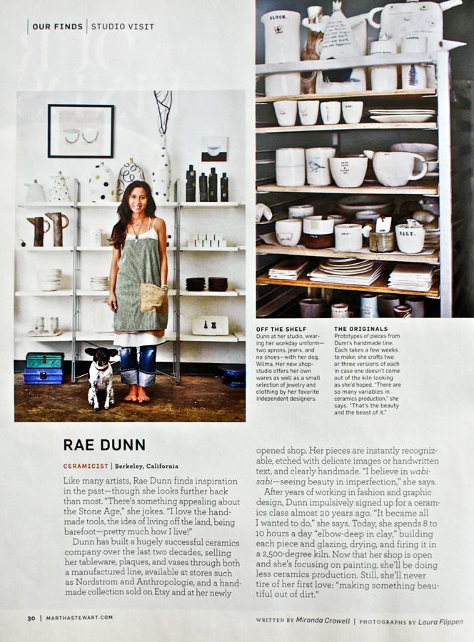 Rae Dunn Clay - Martha Stewart Living, February 2013