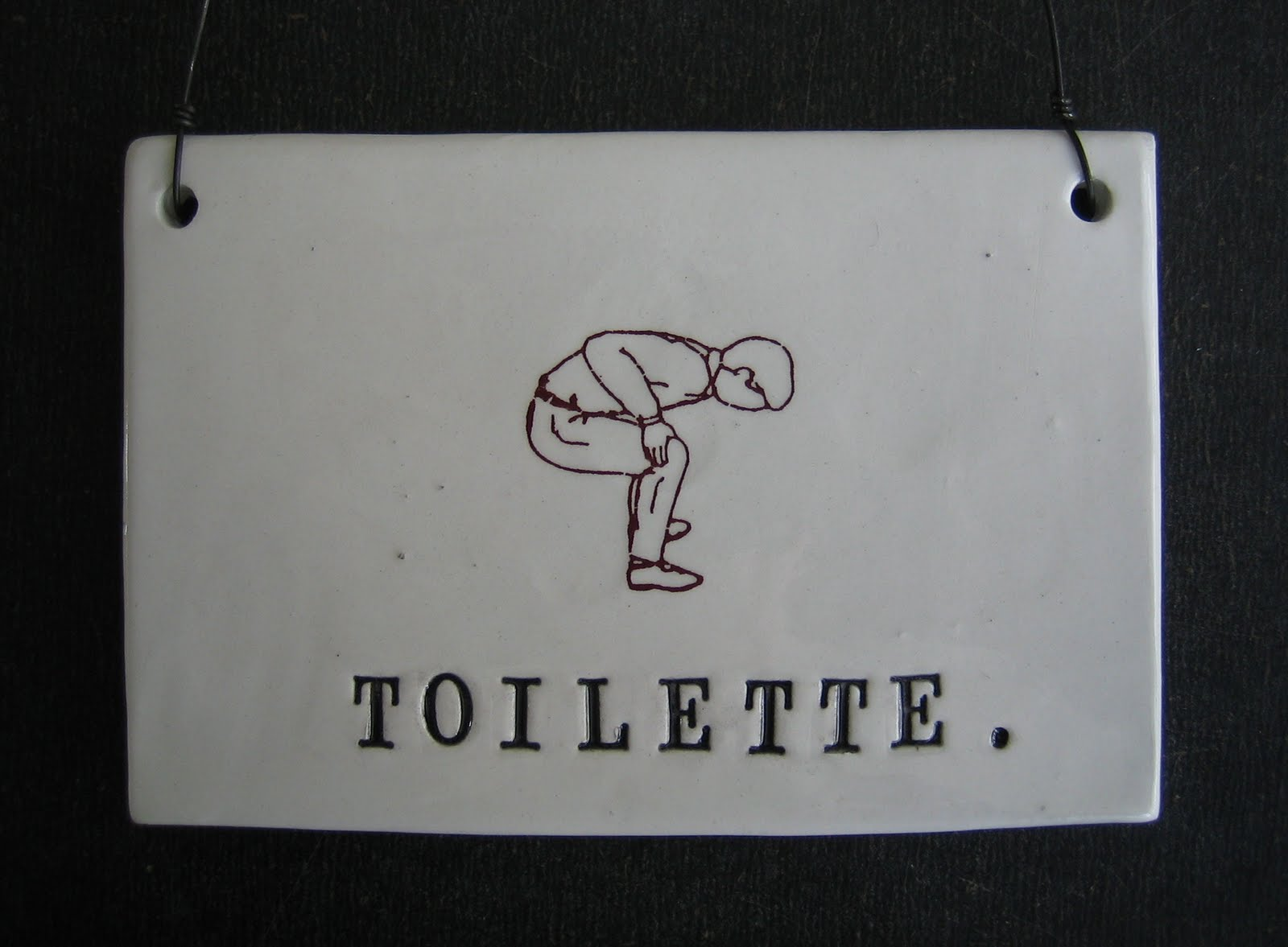 toilette plaque rae dunn clay fine handmade pottery. Black Bedroom Furniture Sets. Home Design Ideas